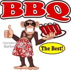 BBQ DECAL (Choose Your Size) Monkey Concession Food Truck Sticker