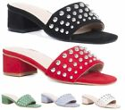 WOMENS LOW BLOCK HEEL STUDDED PEEP TOE SLIP ON BACKLESS MULE SANDALS SHOES SIZE