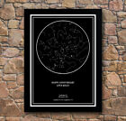 Personalised Star / Sky Night Map Black Framed Poster Print Magical Special Gift
