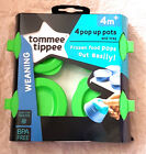 Tommee Tippee 4 x Pop Up Pots 4 Mths + Bpa Free New ( Green )