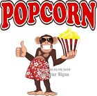 Popcorn DECAL (Choose Your Size) Monkey Concession Food Sticker