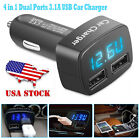 Dual USB Ports 3.1A Car Cigarette Lighter Charger 12V/24V Digital LED Voltmeter