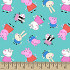 PEPPA PIG PEPPA on blue  : 100% cotton licensed fabric by the 1/2 metre