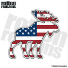 Moose Decal American Flag USA Hunting Bow Hunter Gloss Sticker (RH) HVG