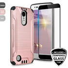 For LG Rebel 3 LTE Tough Brushed Armor TPU Phone Case Cover+Black Tempered Glass