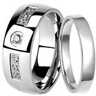 925 Sterling Silver Plain Flat Wedding Ring & Stainless Steel CZ 8 mm Band Set