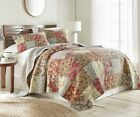 Leslie 3-piece Floral Patchwork Reversible Vintage Washed 100% Cotton Quilt Set image