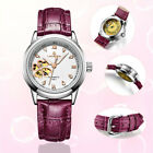 New Skeleton Lady Watches Analog Time Leather Band Womens Automatic Wristwatch