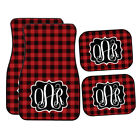 red and black car mats - Personalized Buffalo Plaid | Black and Red Plaid Car Mats