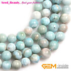 AAA Grade Natural Round Blue Larimar Beads For Jewelry Making Strand 15''