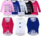 Girls New Long Sleeve Love Top Kids Lace T Shirt Jumper With Bow Age 2-12 Years
