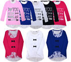 Girls New Long Sleeve Love Top Kids Lace Back T-Shirt Jumper Top  Age 2-12 Years