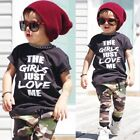 Summer 2pcs Kids Baby Boys Short Sleeve T-shirt Tops+Pants Outfits Clothes Set