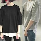 Plus Size Women Casual Half Sleeve Loose T-Shirts Fake Two Piece O Neck Tops USA