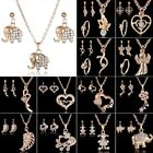 18K Yellow Gold Filled Crystal Love Butterfly Earrings Necklace Ring Set Jewelry