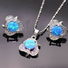 925 Silver Filled Ruby Sapphire Amethyst Gemstone Pendant+Earrings Jewelry Set