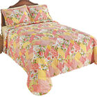 Garden Floral Patchwork Channel Quilted Bedspread, by Collections Etc image