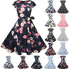 Vintage 50s 60s Retro Style Rockabilly Pinup Housewife Party Swing Tea Dress