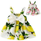 Baby Girls Summer Lemon Printed Bowtie Princess Dress Outfit Sleeveless Clothes
