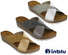 Inblu Slip On Wedge Sandals Padded Leather Insock Cross Strap Open Toe UK 2.5-8