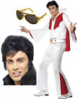 Mens Adult Elvis Presley 50s 60 Red White Fancy Dress Costume Outfit Wig Glasses