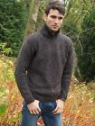 Brown Colour Speckled Irish Made Donegal Aran Wool Mens Half Zip Sweater Z2040