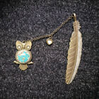 Vintage GLOW IN DARK Owl Dried FLower Pendant Feather Bookmark Jewelry Book Mark