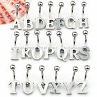 1x Punk Stainless Steel Initial Letter A-Z Bar Navel Belly Button Rings Piercing