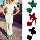 Womens Open Toe Platform Bowknot Ankle Strap High Heel Sandals Stilettos Shoes b