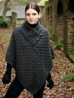 Aran Charcoal Irish Made Poncho Cape 100% Extra Soft Merino Wool n101