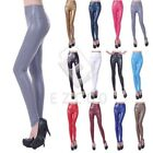 Women Wet Look Faux Leather Leggings High Waist Stretchy Jeggings Pant Trousers