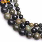 Natural Round Green Gray African Autumn Jasper Stone Beads Jewelry Making 15''