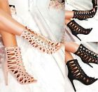 Womens Suede Intricate Mesh Strappy High Stiletto Heel Open Toe Sandals Shoes