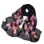 Women's Soft Chiffon Floral Flower Wraps Scarf Long Shawl Scarves Stole WJ2