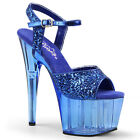 "7"" Something Blue Glitter Platform Wedding Heels Womans Bridal Stripper Shoes"