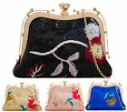 LADIES SEQUIN EMBROIDERY COIN PURSE OCCASION CHAIN DIAMOND CLASP CLUTCH BAGS