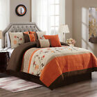 Chezmoi Collection Serene 7-Piece Floral Scroll Embroidery Striped Comforter Set image