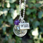 Dandelion necklace WISH seed flower gemstone Amethyst Garnet Hematite Black Onyx