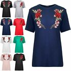 Womens Ladies Short Sleeve Round Neck Side Flower Roses Embroidery Tees T Shirt
