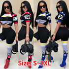 women club outfits - Women Short Sleeves Letter Print Jumpsuit Club Bodycon Party Casual Outfits 2pcs