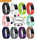 10 PCS Silicone Strap Classic Sport Bands with Secure Buckle for Fitbit Charge 2