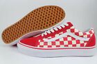VANS OLD SKOOL PRIMARY CHECKERBOARD RACING RED/OFF WHITE CHECK SKATE US MEN SIZE