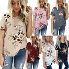 affordable plus size clothes - Summer Women Floral Tops Blouse Short Sleeve T-Shirt Clothes Plus Size 6-20 HOT