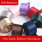 "Women Fashion Satin Ribbon Shoelace Solid Color for Sneakers Trainer 47"" Long"