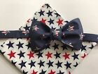 custom handkerchief - Custom Mens Nautical Stars Americana Bow Tie & Handkerchief Blue/Red/White
