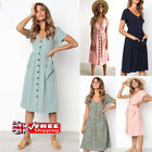 UK WOMEN HOLIDAY BUTTONS DOWN MIDI DRESS POCKETS CASUAL SHORT SLEEVE TUNIC DRESS