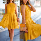 Women Girls Summer Casual Solid Color Lace-up Pleated Dress With Pockets Elegant