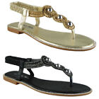 Womens Ladies Elastic Strap Comfy Flat Bling Summer Toe-Post Sandals Shoes Sizes