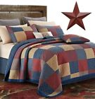 cheap king size quilt covers - Patchwork Americana Farmhouse Burgundy Red Blue F/Q/K 3pc Quilt Set +BARN STAR