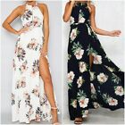 UK Summer Womens Casual Sleeveless Ladies Maxi Long Summer Print Beach Dress